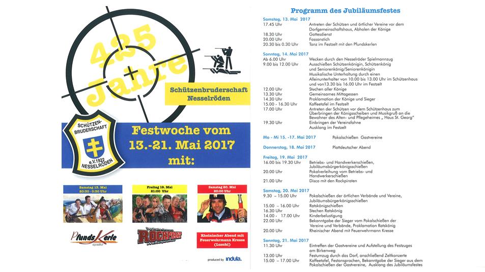 Festprogramm zum 425-jährigen Jubiläum der Schützenbruderschaft Nesselröden